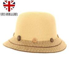 LADIES GIRLS CRUSHABLE STRAW STYLE SUMMER SUN BEACH BUSH CLOCHE HAT UK SELLER