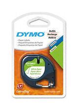 "Dymo 10697 LetraTag 1/2"" Paper Label Refill, White, 2 Cassettes (DYM10697)"