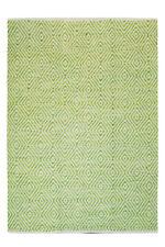 tissés à la main Tapis Tapis poils ras FAIT MAIN 100% laine vert