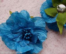 FLEUR sur BROCHE Tissu de soie 10 cm mariage, cérémonie, fête - colorisBleu