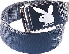 Playboy Bunny Black White Belt Buckle Bottle Opener Adjustable Web Belt
