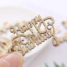 Laser Cut Wooden Slice Happy Birthday Wood DIY Crafts Hanging Ornaments