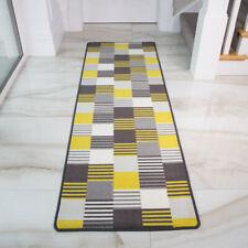 Yellow Ochre Patchwork Stripe Non Slip Kitchen Rug Mat Durable Hallway Runner
