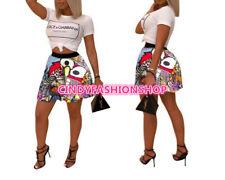 USA Women Summer Cartoon Letter High Waist Above Knee Mini Pleated Skirts