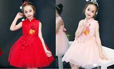 Kids Girls Chinese New Years Style Red Pink  Cheongsam Qipao Embroidered Dress