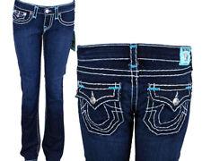 True Religion Jeans brand  Billy Super T brights sea blue bartacks WJC572BB2