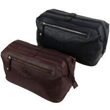 Mens Rowallan LARGE Quality Vintage Leather Wash Bag Travel Toiletries Black or