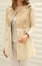 Women's Trench Coat Khaki Beige Solid Cotton Chiffon Polyester Petite XS S