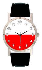 Poland Flag Mens Womens Genuine Leather Band Quartz Movement Wrist Watch SA1496