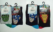 Boys 2 Pack Marvel Comics Socks, Hulk, Captain America Socks