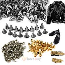 100 PCS Trendy 10MM Silver Spots Cone Screw Metal Studs Rivet Bullet Spikes