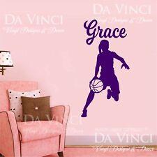 Basketball Player Dribbling Decal Girl Custom Name Wall Vinyl Sticker