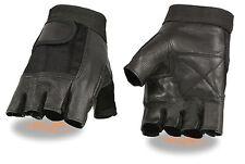Men's Cowhide Fingerless Glove w/ Padded Palm Motorcycle,Truckers, Weightlifting