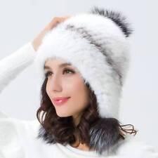Hot Nice Women Fur knit Hat Winter Fur Farm Mink Fur Hat Cap Silver Fox Fur Ball