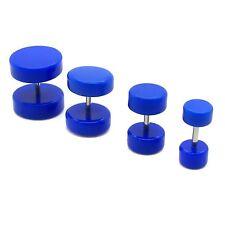 CRAZY STUFF VOM DOC!! 2x Fakeplugs Fake Plug Piercing Ohrstecker 6 8 10 12 Blau