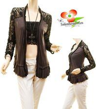 Black Gothic Wool Ruffle Silk Chiffon Trim Sexy Lace Sleeve Cardigan Top S M L