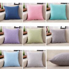 Pillow Case Cotton Linen Vintage Sofa Waist Throw Cushion Pure Color Home Décor