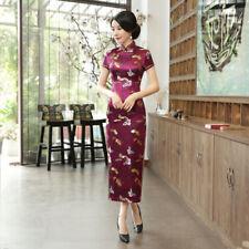Wine Red Womens qipao cheongsam long Chinese traditional dress short sleeve Size