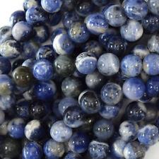 "White Blue Sodalite Round Beads Gemstone 15.5"" Strand 4mm 6mm 8mm 10mm 12mm"