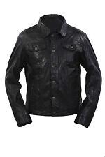 Infinity Para Hombre Estilo Retro Estilo Slim Fit Casual Cuero Negro Camisa Jeans Chaqueta