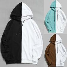 Mens Winter Casual Patchwork Slim Fit Hoodie Outwear Sweatshirts Teens Hooded UK