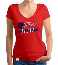 Damen T-Shirt V-Ausschnitt - Texan - Bull - Football Trikot Fan Team Quarterback