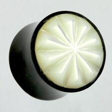 6mm - 22mm CORNO CON MADREPERLA chirurgico Flesh Tunnel Ear Plug Orecchio Piercing 319