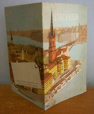 1950 STOCKHOLM SWEDEN Travel Brochure with Map, H Roos Artwork