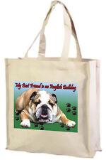Bulldog inglese cotone shopping bag, scelta di colori: Nero, Crema