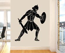 ROMAN GLADIATOR Silhouette Wall art Adesivi greco antico Trasferimento Murale Decalcomania