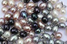 P006 Eau Douce Perle Bijoux Pendentif sans collier collier de perles argent 925
