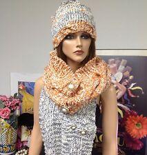 Hand Knit Three Piece Hat Shawls  Scarfs Designer Fashion Stylish Cool