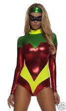 Sexy Forplay Astonishing Accomplice Bodysuit Superhero Metallic Robin Costume