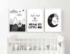 Set of 3 Nursery Prints for Boys / Girls Nursery / Bedroom Dream Big Little One