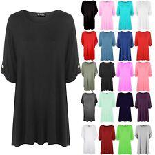 Womens Short Turn Up Sleeves Button Shirt Ladies Flared Franki Swing Dress Top