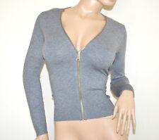 MAGLIA CARDIGAN GRIGIO donna maglietta zip manica lunga sottogiacca jersey A41