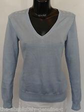 AQUASCUTUM Ladies Fine DAMAS V NECK Jumper Sweater sz M Light BLUE BNWT