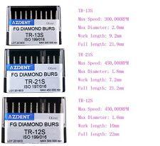 Dental Diamond Burs Kit For High Speed Handpiece TR-13S/21S/12S AZDENT 10PCS/BOX