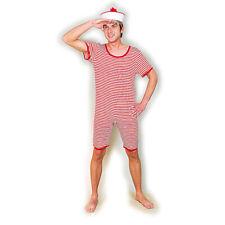 20er 30er Retro Badeanzug Männer rot-weiß  geringelt Herrenbadeanzug gestreift