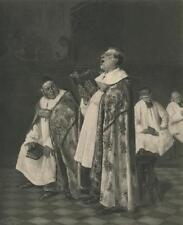 ANTIQUE PRIEST SINGING ECCLESIASTICAL CLERGY CHURCH ROBES HENRY BRISPOT PRINT