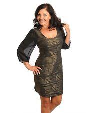 WOMENS DRESS Plus CocktailMini Curve Hugging Sheer Sleeve metallic 1XL 2XL 3XL