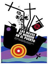 Las naves se hunden en el puerto Decor Poster.Graphic Art Interior design.3661