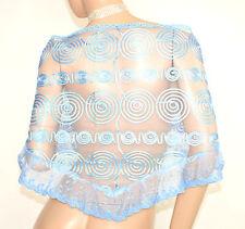 STOLA AZZURRA donna foulard scialle mantella ricamata coprispalle damigella E130