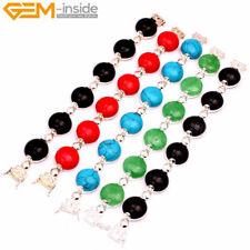 "Royal Coin Gemstone Beads Tibetan Silver Jewelry Bracelets 7"" Christmas Gift DIY"
