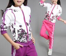 Completo Tuta Sportiva Pantaloni Felpa Bambina Girl Pants Hoodie Jacket SETCH04