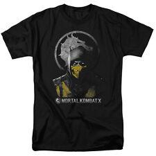 Mortal Kombat X Scorpion Bust Dragon Seal Licensed Adult T Shirt