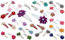 Zest 2 Sleepie Hair Clips Slides with Satin Ribbon Flowers