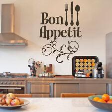 Bon Appetit Kitchen Wall Sticker Fork Knife Spoon Quote Room Vinyl Decor Large