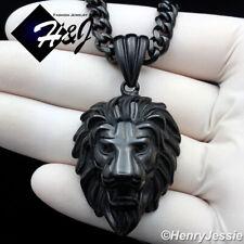 """18-40""""MEN Stainless Steel 6mm Black Cuban Curb Link Necklace LION Pendant*BP121"""
