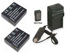 2X Batteries + Charger for Panasonic DMC-GF3 DMC-GF3K DMC-GF3R DMC-GF5 DMC-GF5X
